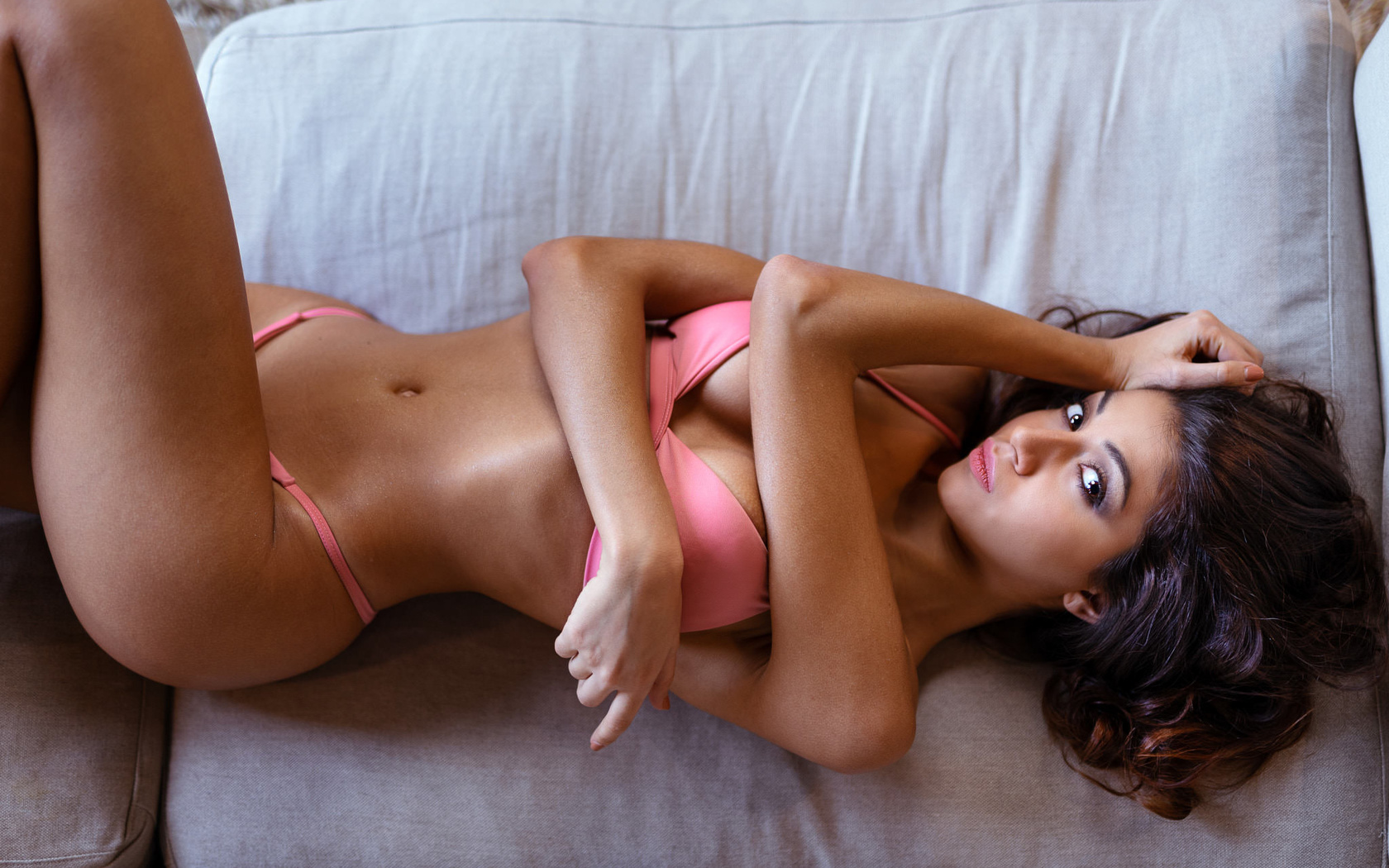 women, pink bikinis, brunette, top view, marco squassina, lying on back, belly