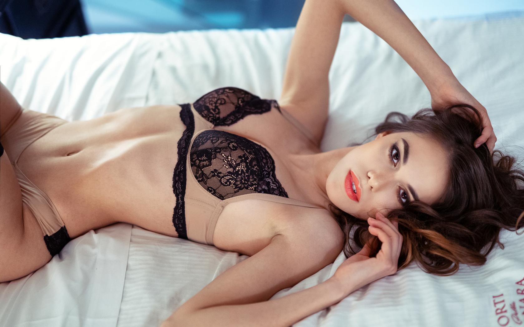 women, marco squassina, in bed, brunette, belly, lingerie, lying on back