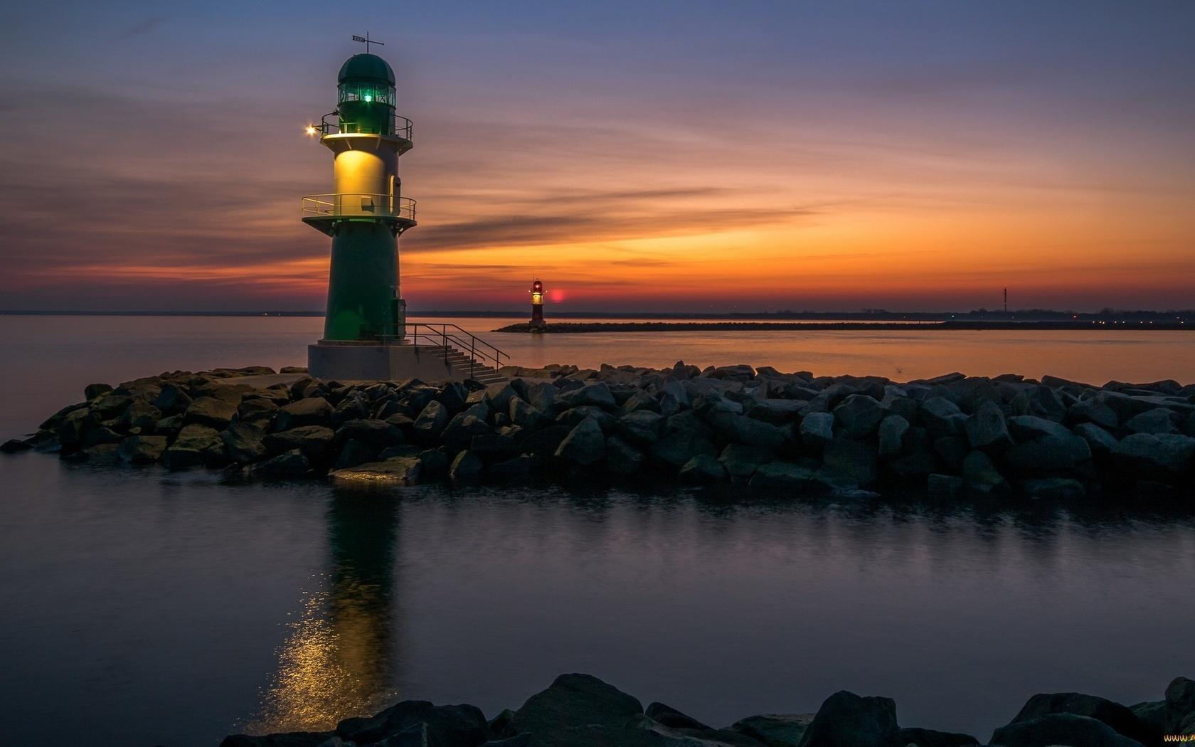 море, небо, закат, вечер, маяк