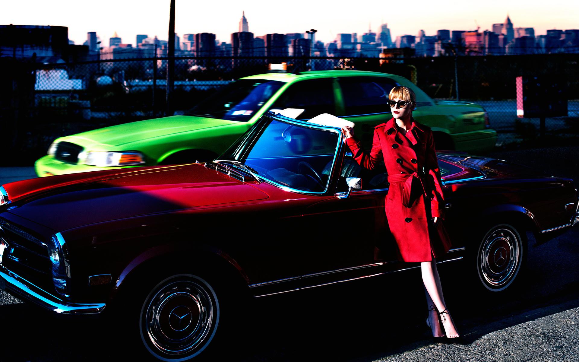 автомобили, девушка, mercedes benz,ретро