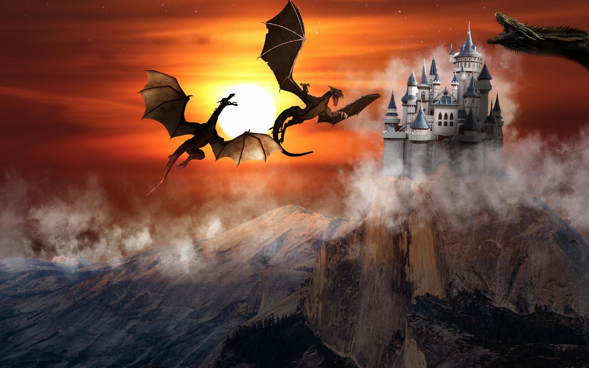 картинка дракон над замком нет
