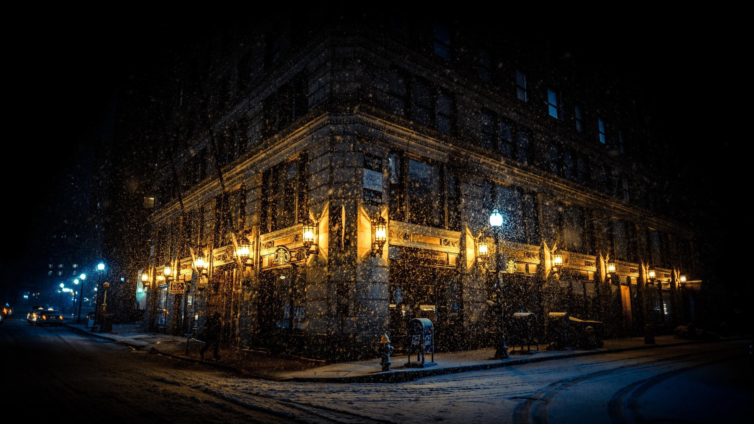 boston, ночь, огни, город