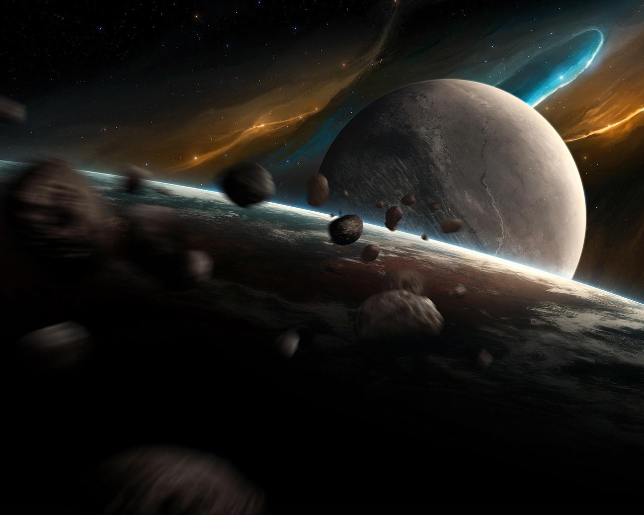 обои арт, планеты, астероиды, space, planet, nebula