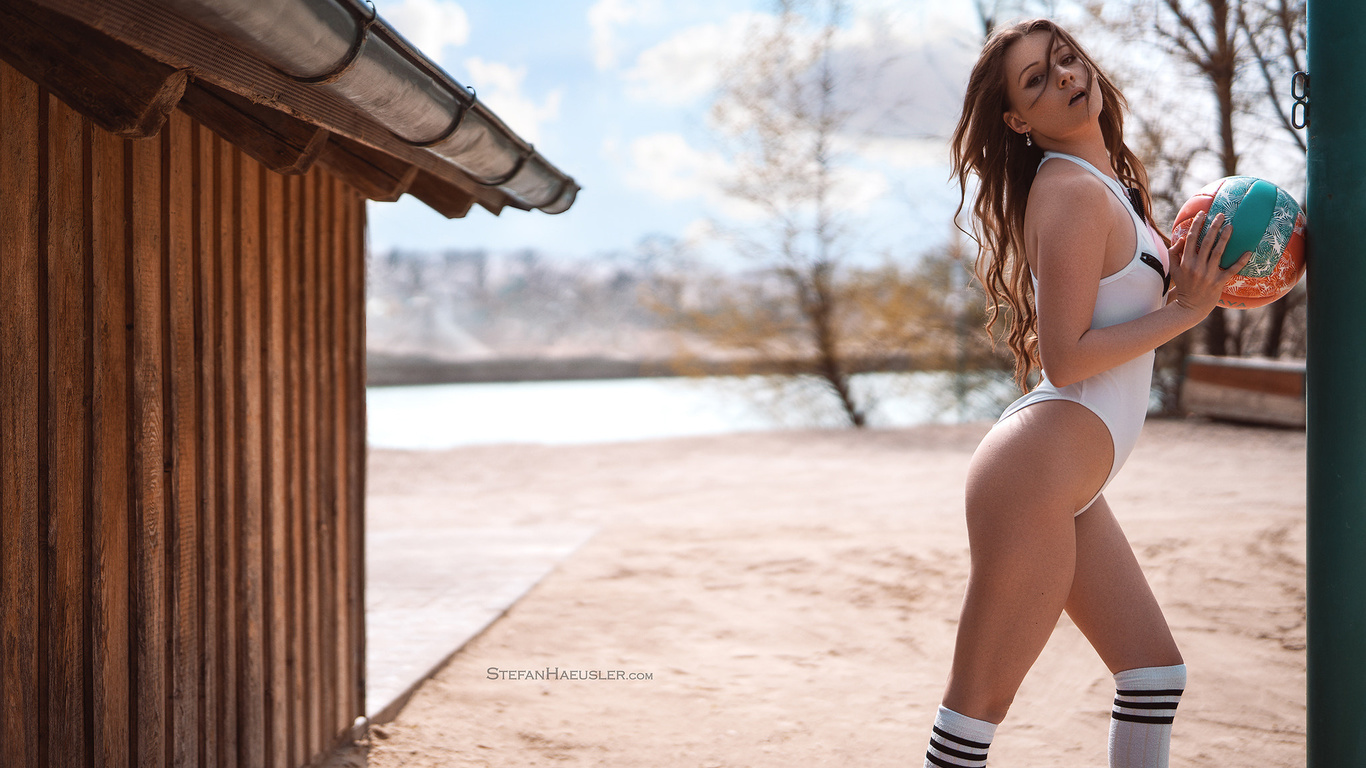 women, ass, knee-highs, swimwear, ball, trees, women outdoors, long hair, stefan hausler