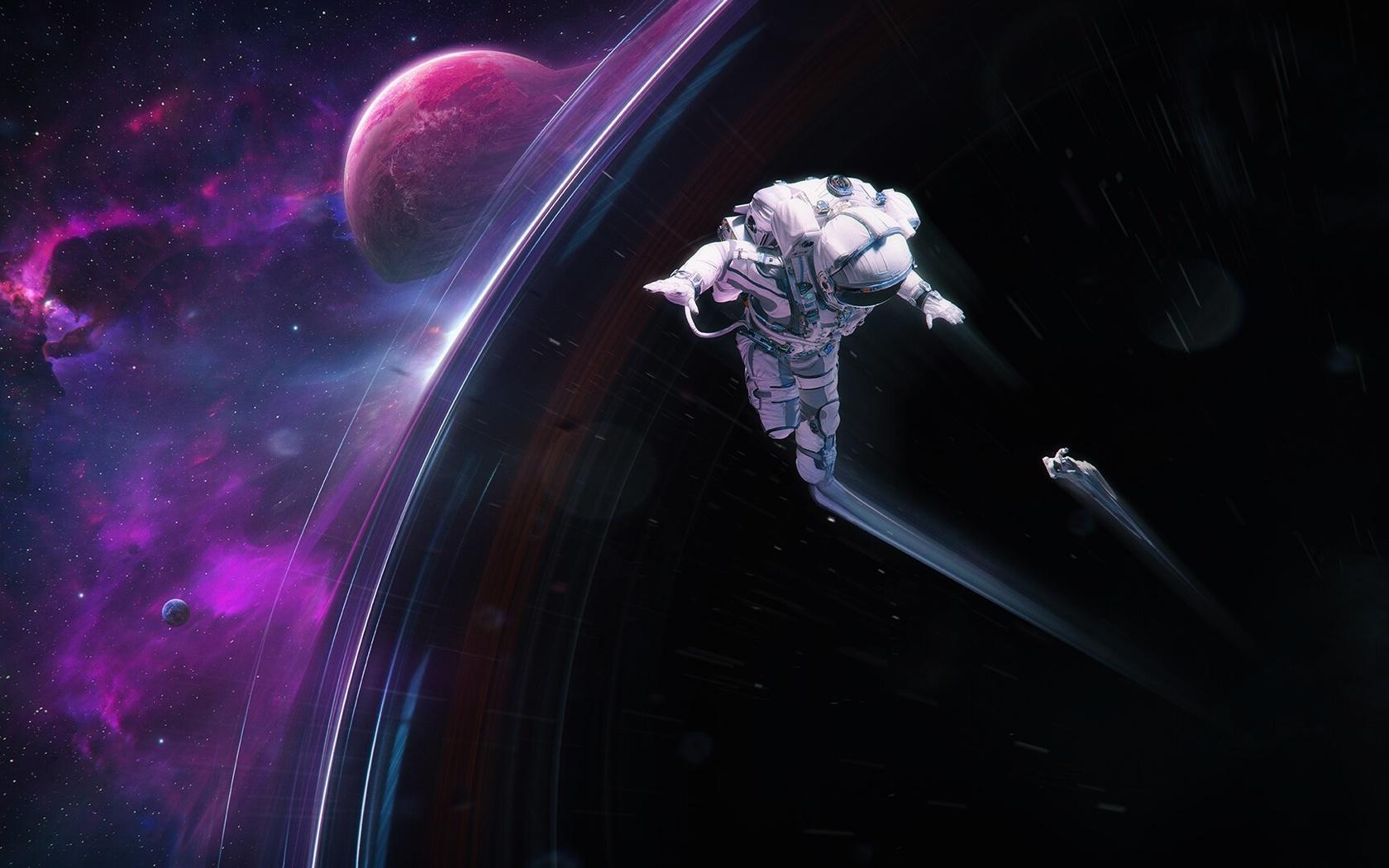 космонавт, планета. цифровое искусство