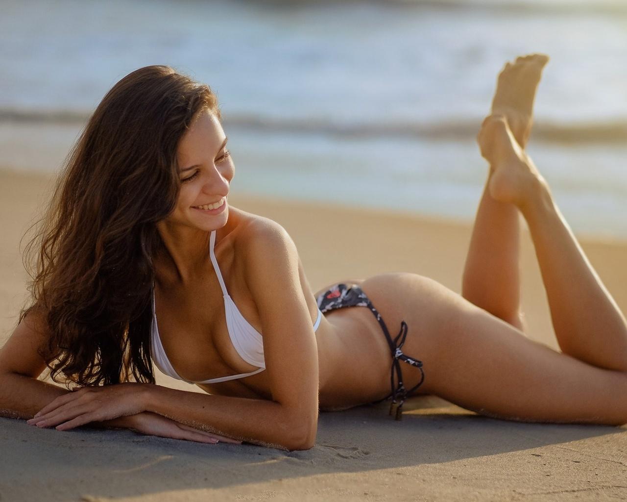 море, пляж, красота, девушка
