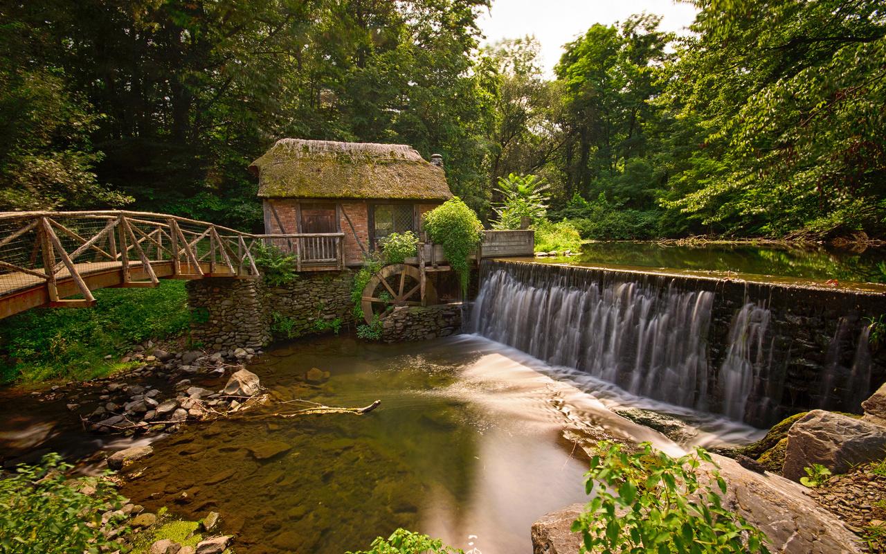 обои gomez mill house, marlboro, new york, мельница, река, мост, лес