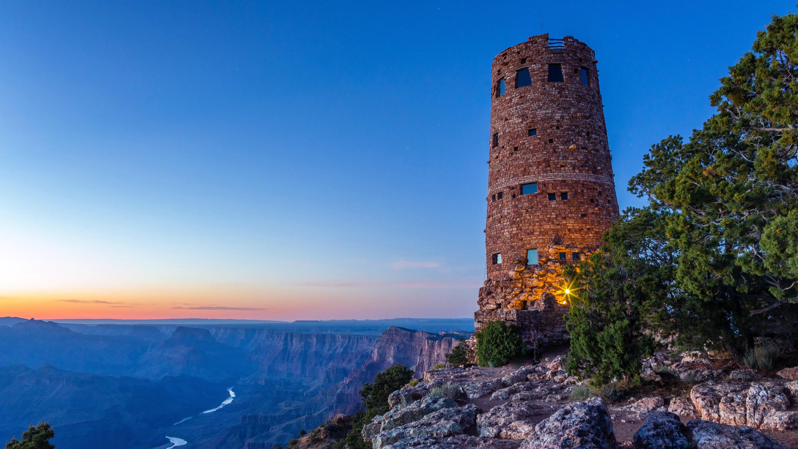 гранд-каньон, маяк, горы, рассвет