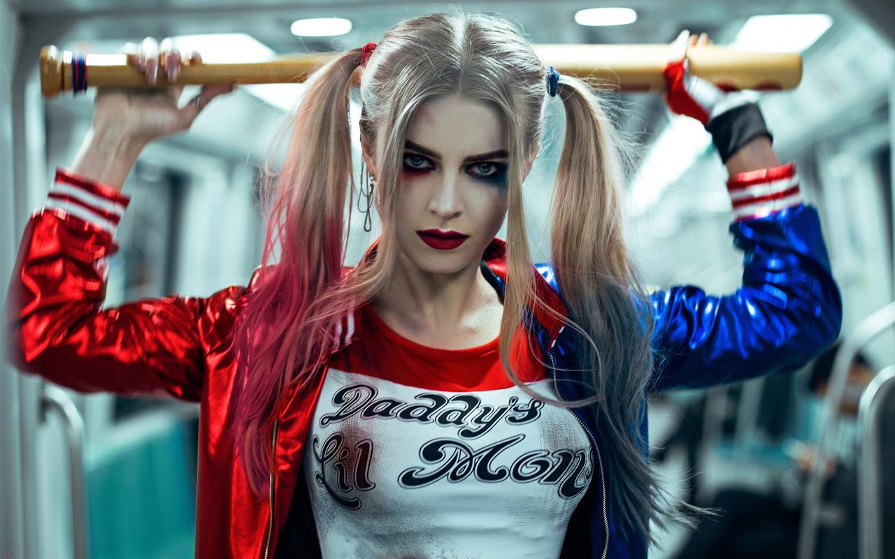 стиль, харли квинн, девушка, косплей, взгляд, dccomics, отряд самоубийц, модель, волосы, лицо, макияж, бита