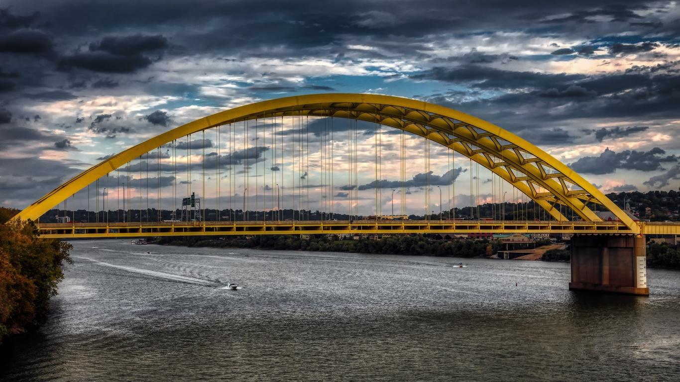 мост, река, ohio, cincinnati, город