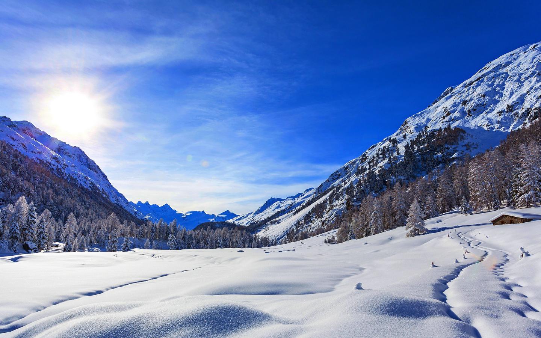 небо, следы, горы, снег, природа, лес, зима, пейзаж