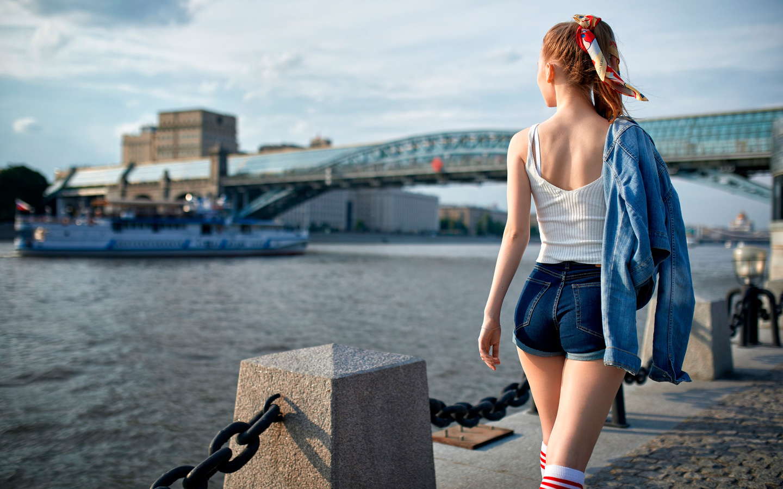 women, jean shorts, tank top, white stockings, denim, back, river, women outdoors, boat
