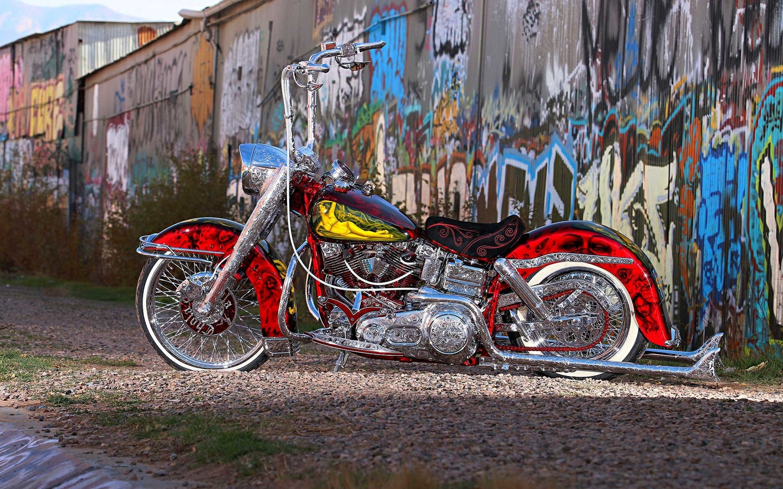 1975, harley davidson, мотоцикл, аэрография