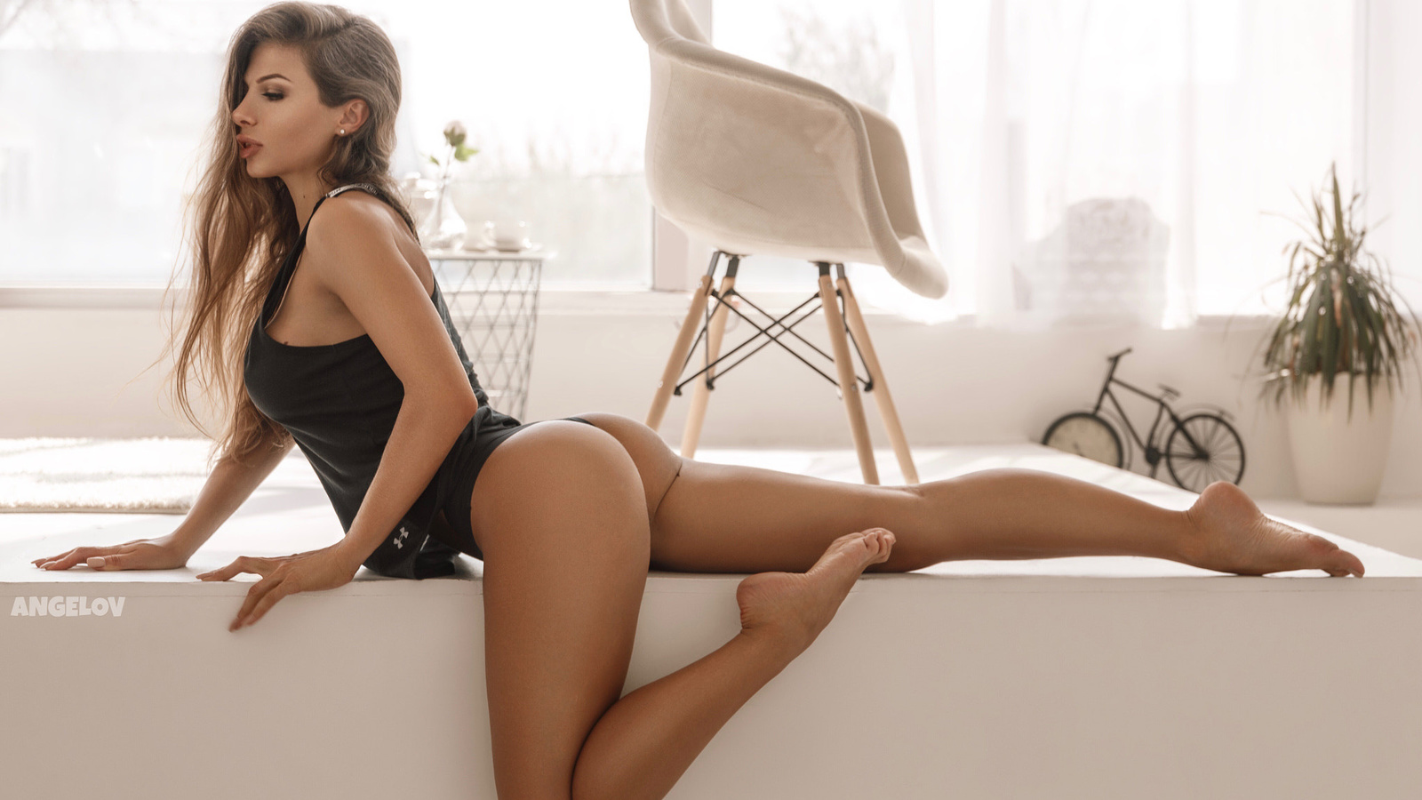 women, evgeny angelov, ass, brunette, tank top, chair, black panties, long hair