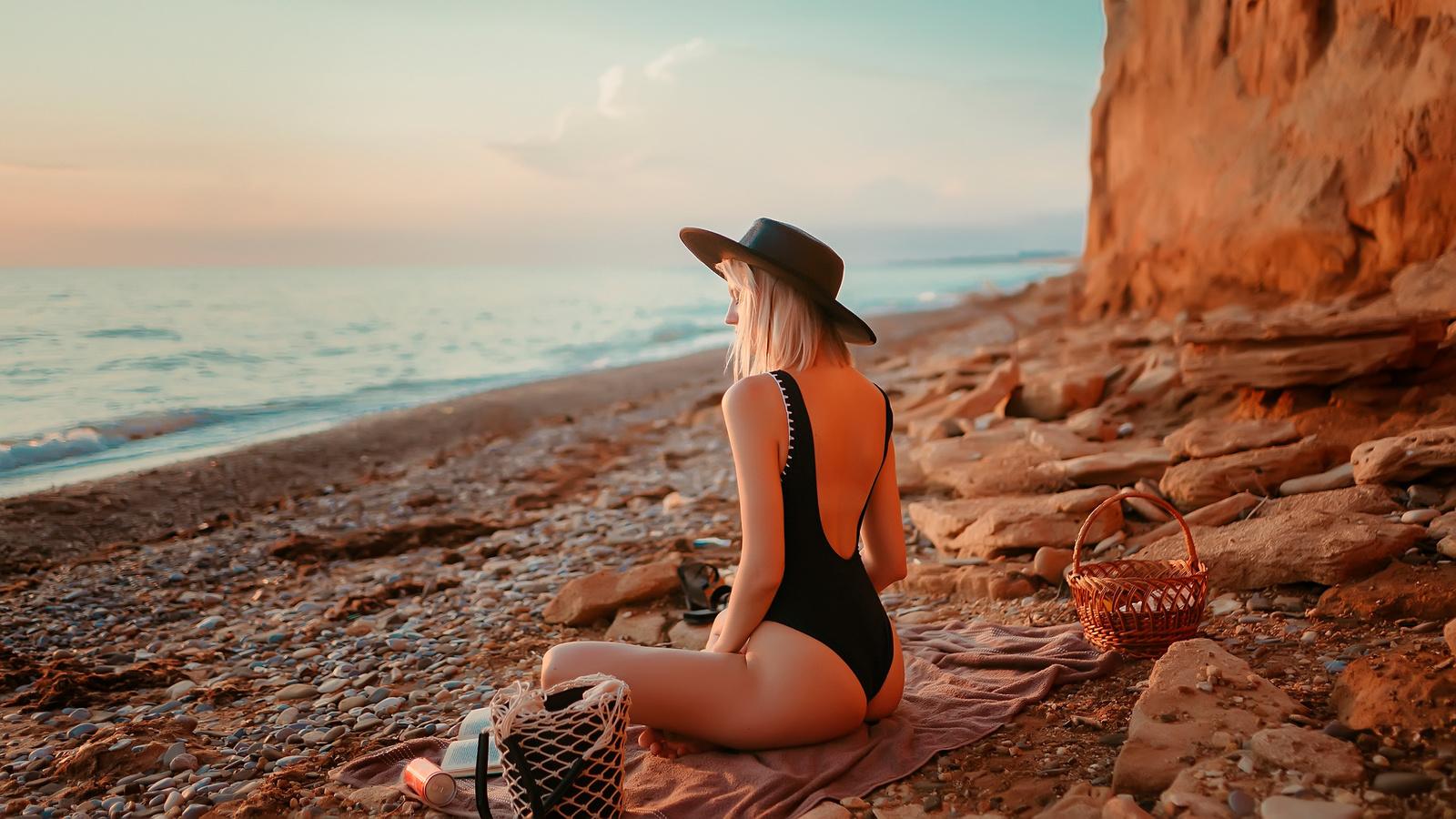 women, blonde, brunette, one-piece swimsuit, ass, sunset, sea, beach, women outdoors, black swimsuit, coca-cola, hat, books, sitting
