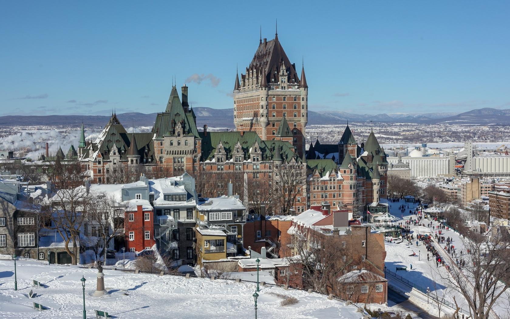зима, канада, дома, замок, квебек, dufferin terrace, снег, город