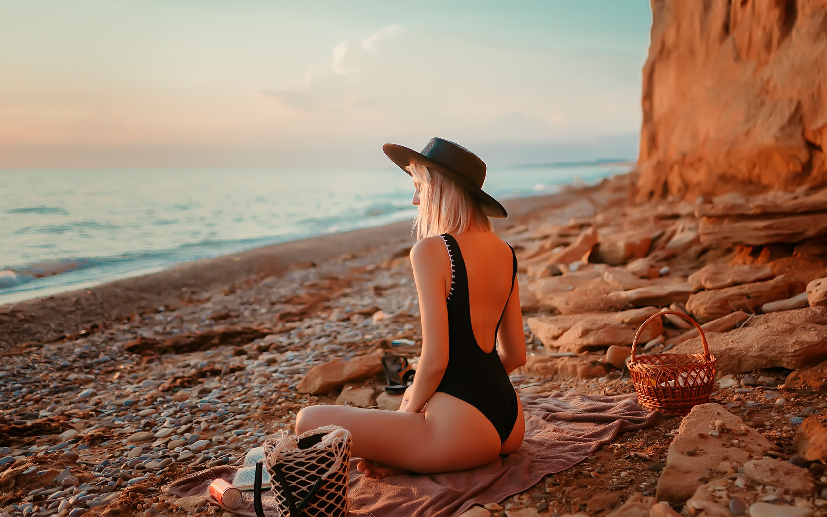 women, blonde, brunette, one-piece swimsuit, ass, sunset, sea, beach, women outdoors, black swimsuit, coca-cola, hat, books, sitting