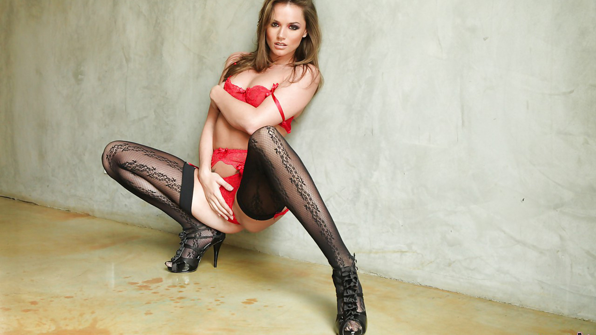 adult model, bra, brunette, cleavage, high heels, hot, leg, lingerie, porn, pornstar, red, sexy, stockings, tori black, underwear