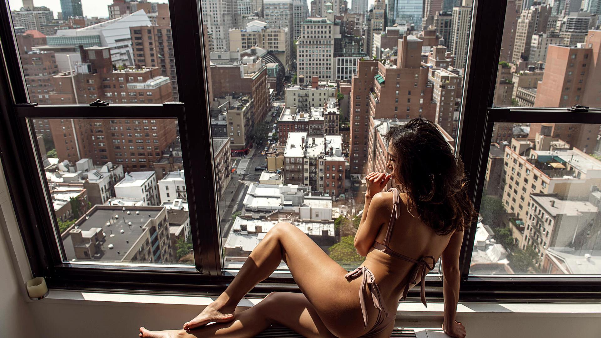 women, bikini, window, ass, sitting, brunette, building, finger on lips, candles