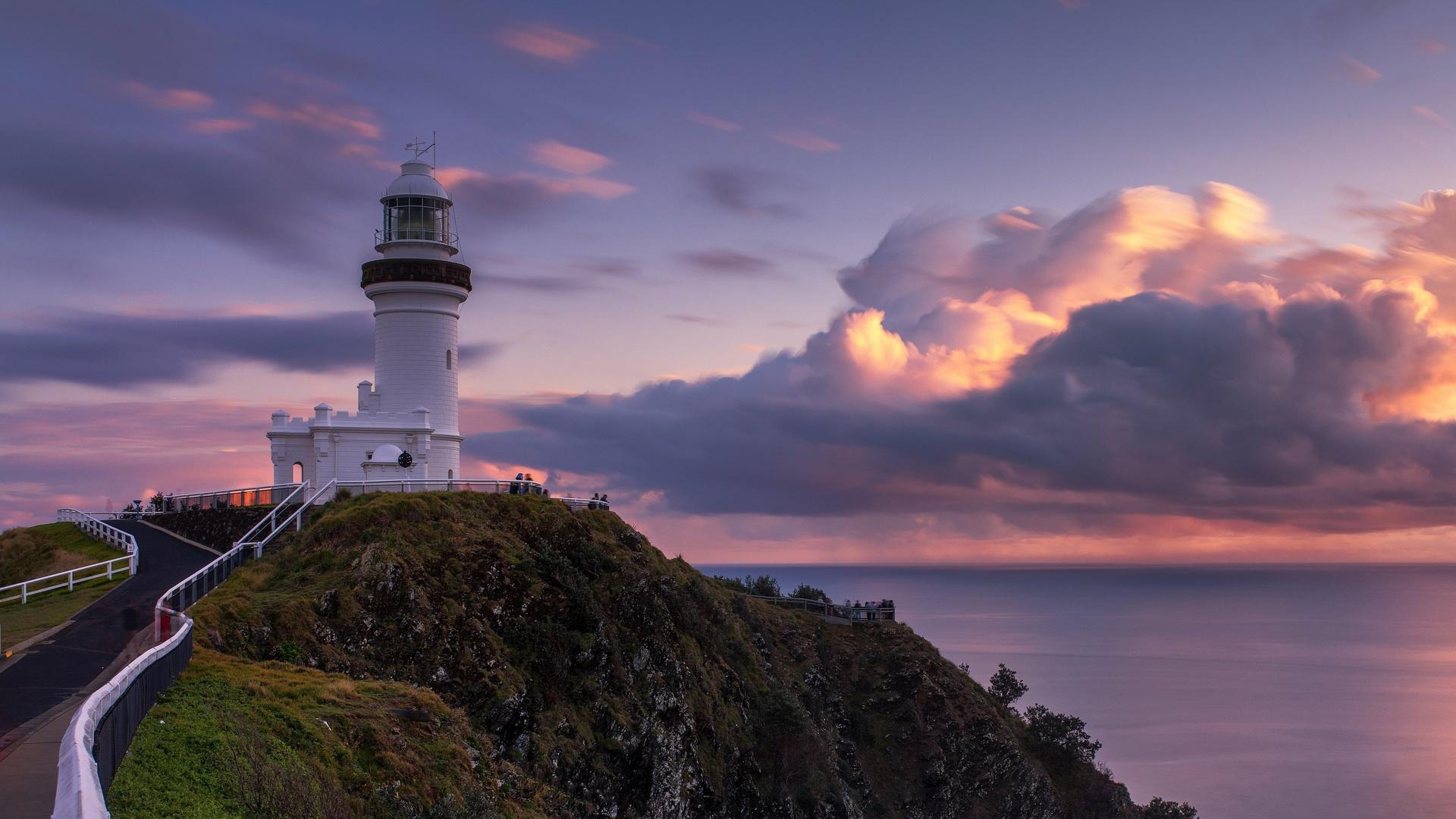 природа, пейзаж, море, берег, скала, дорога, маяк, небо, облака, закат