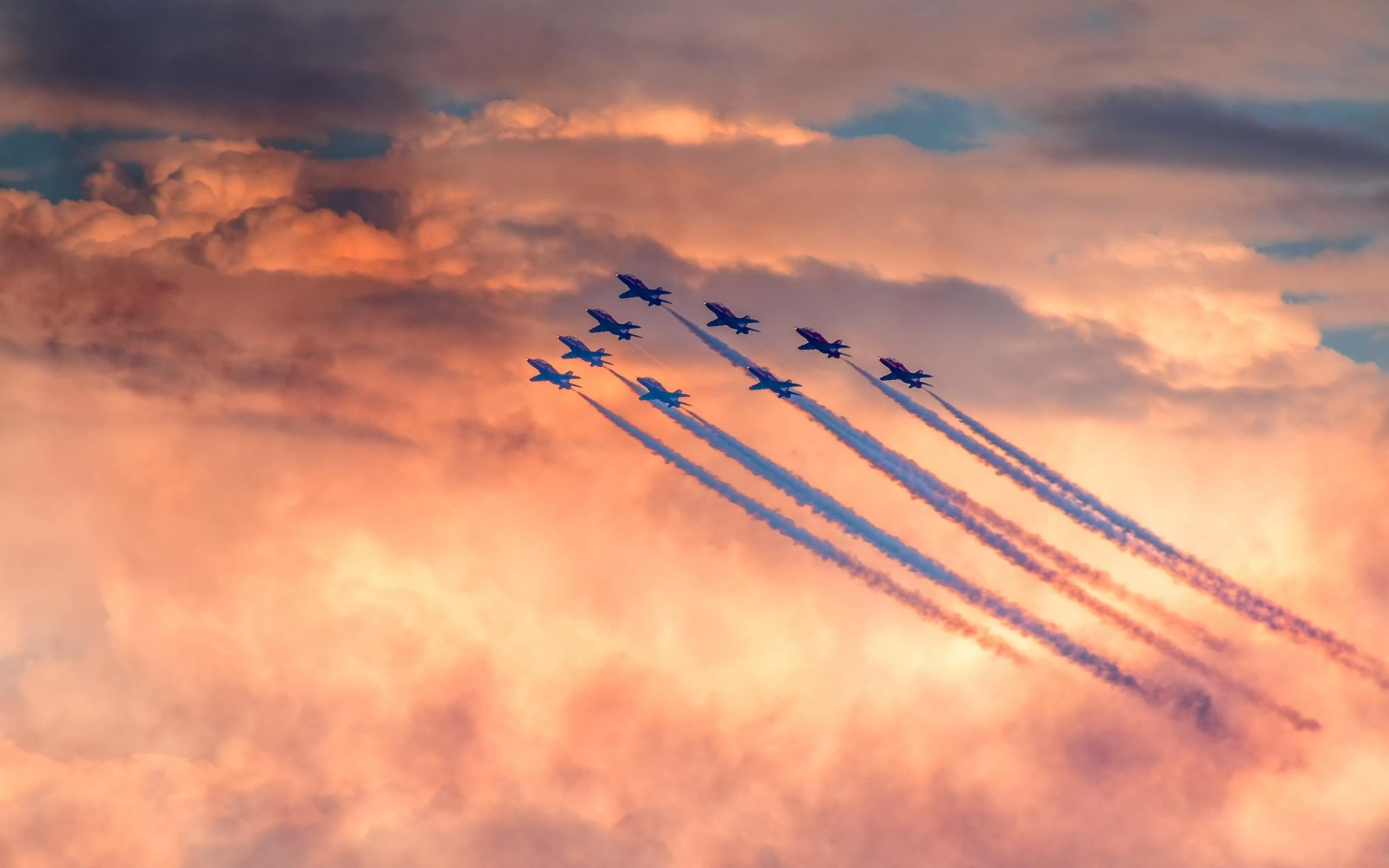 небо, облака, самолет, авиация, самолеты, авиа-шоу