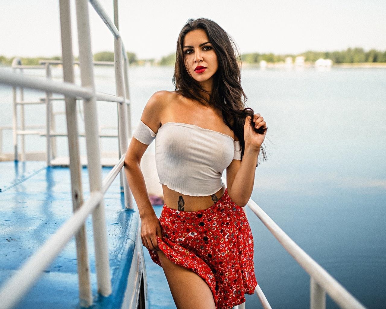 women, tattoo, portrait, skirt, red lipstick, long hair, women outdoors, bare shoulders, water, boat