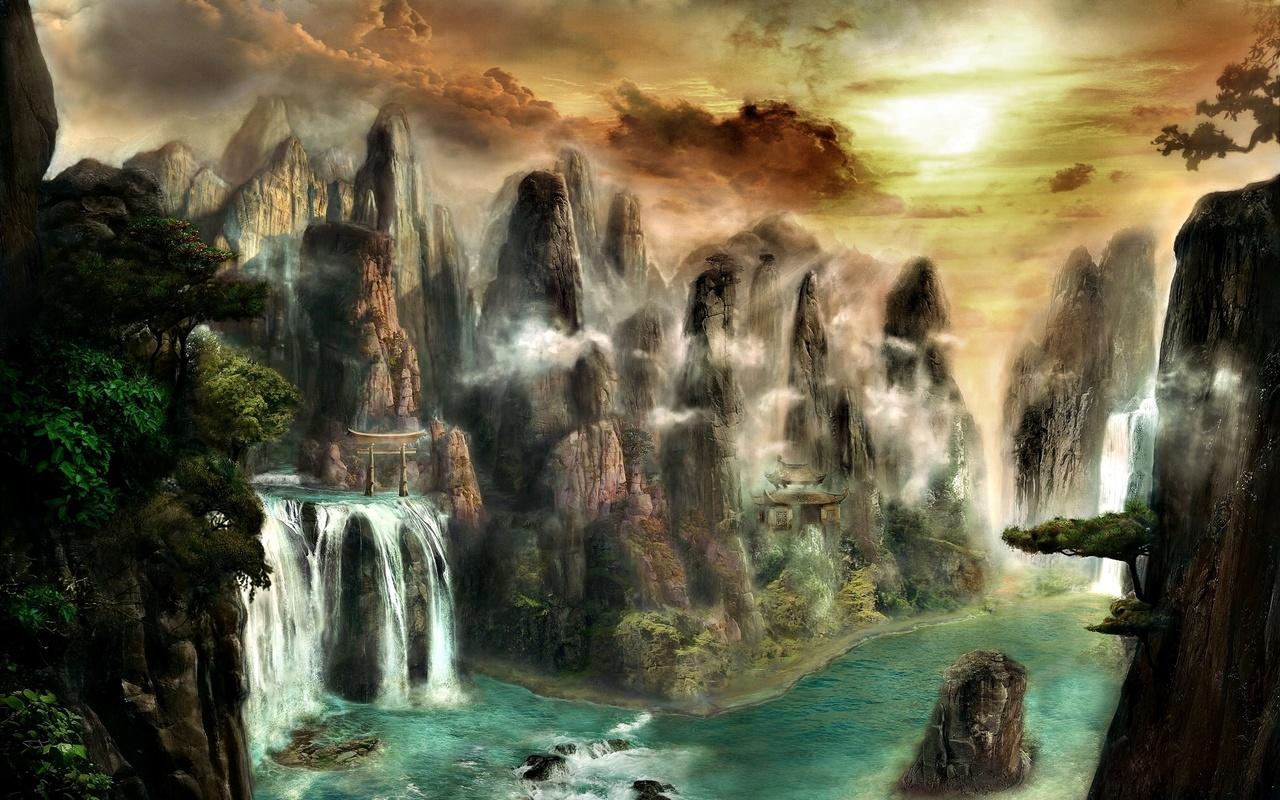 пейзаж, горы, фэнтези