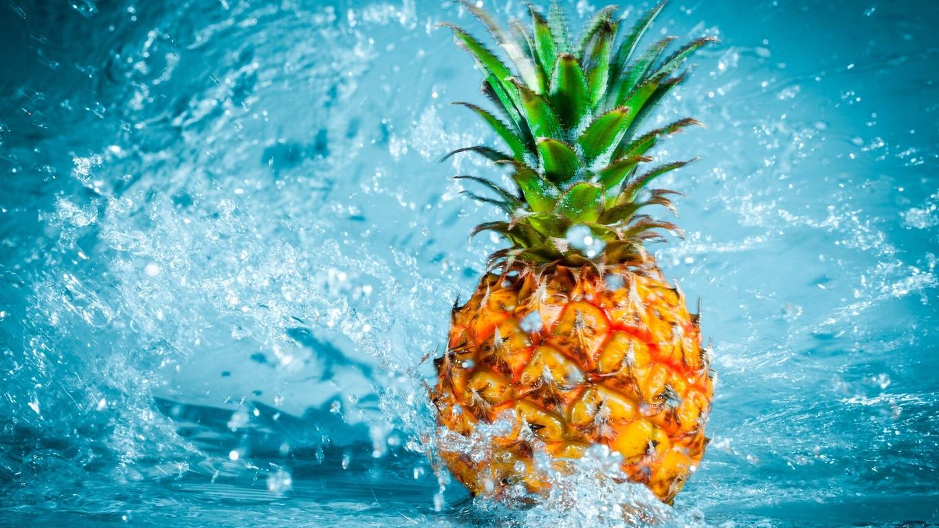 красота, тропический, экзотический, фрукт, фрукты, ананас, вода