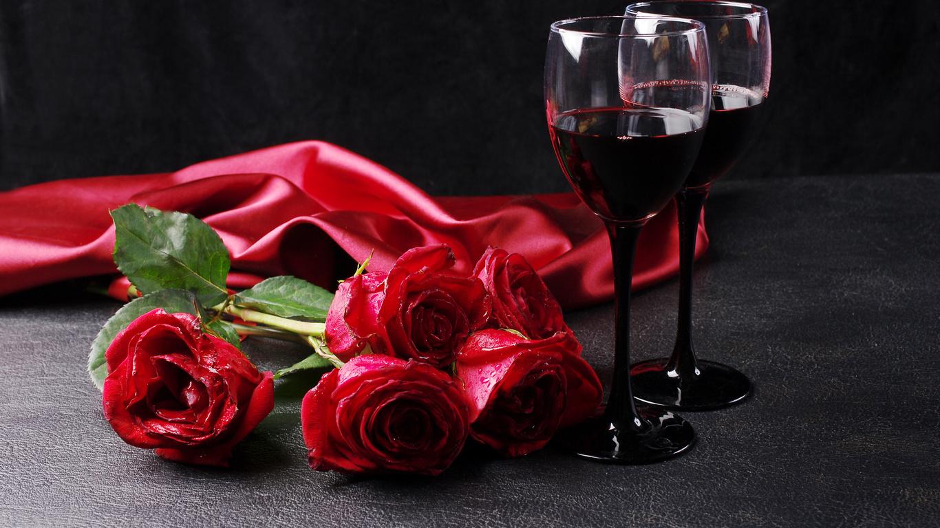 розы, вино, красный, цветы, бокалы