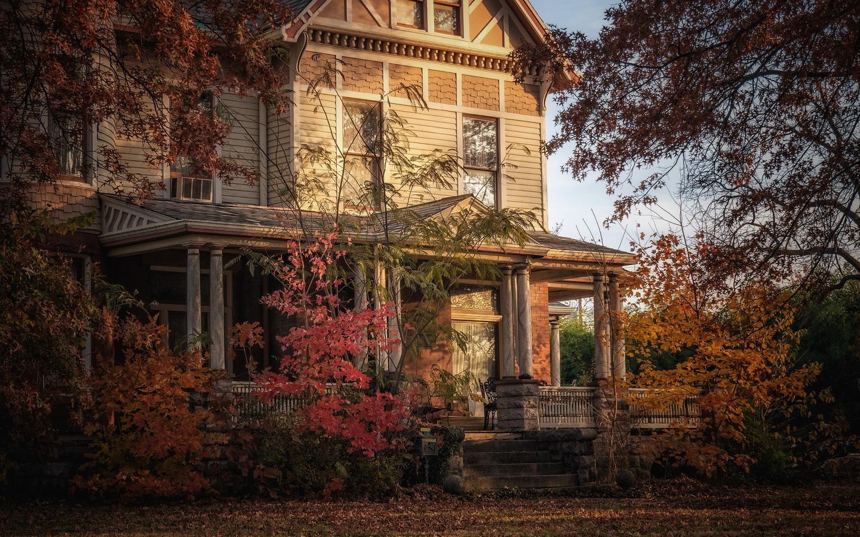 деревья, осень, сад, дом, старый дом, фасад