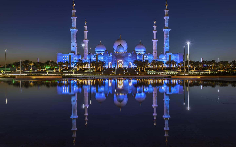 оаэ дома храмы abu, dhabi, залив, ночь, отражение, город