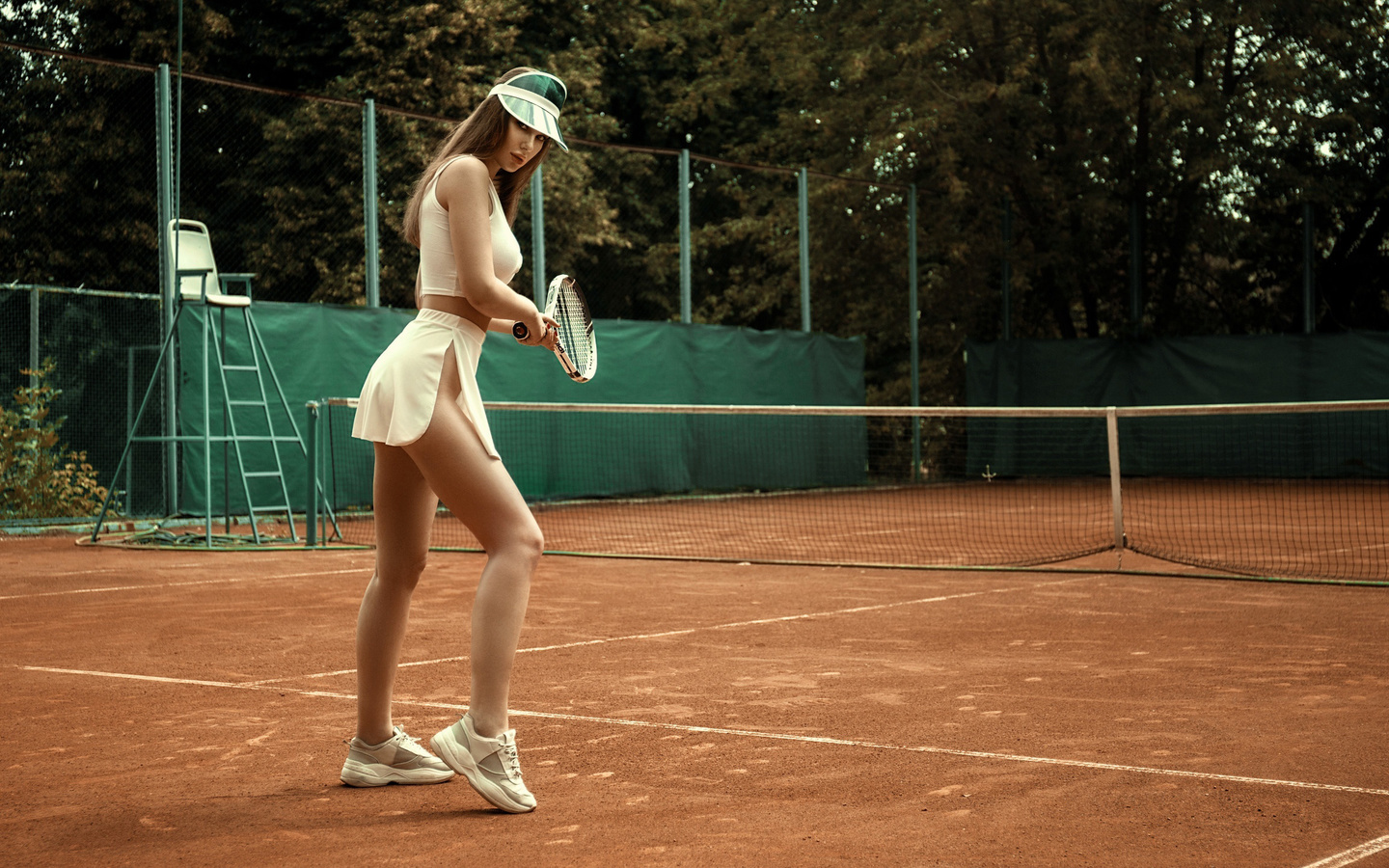 women, skirt, tennis, white clothing, sneakers, women outdoors, tennis rackets, tennis balls, sportswear, brunette