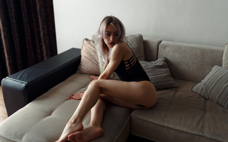 women, ass, couch, tattoo, black lingerie, red nails, brunette, artyom mernaev, looking away