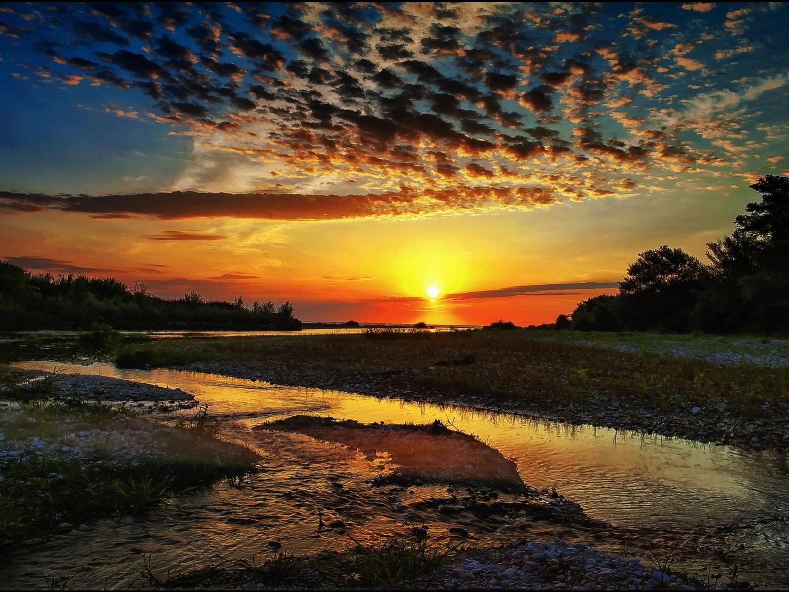 луч, солнце, облака, ручей, деревья, природа