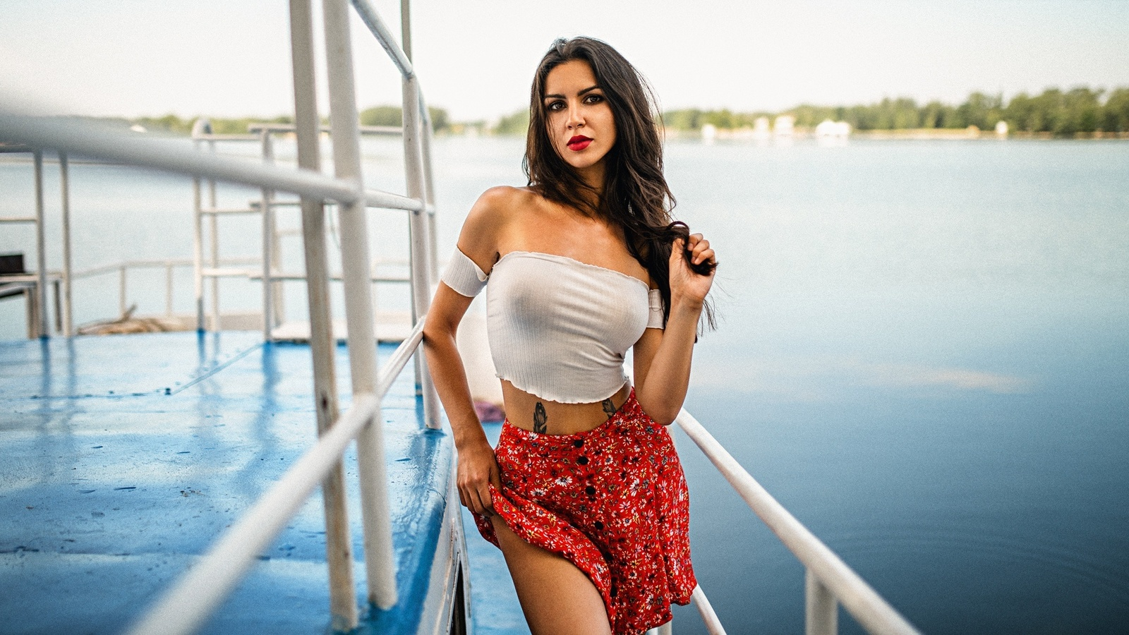 women, tattoo, portrait, skirt, red lipstick, long hair, women outdoors, bare shoulders, water, boat
