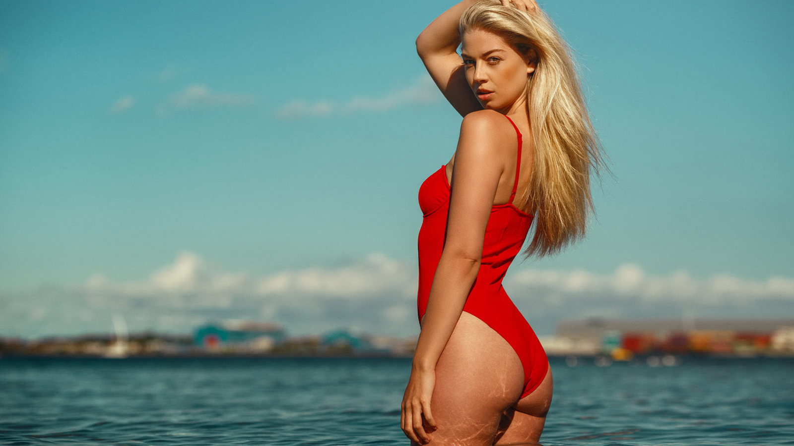 women, blonde, ass, sea, women outdoors, brunette, one-piece swimsuit, red swimsuit, looking at viewer, sky, kenneth lundgreen