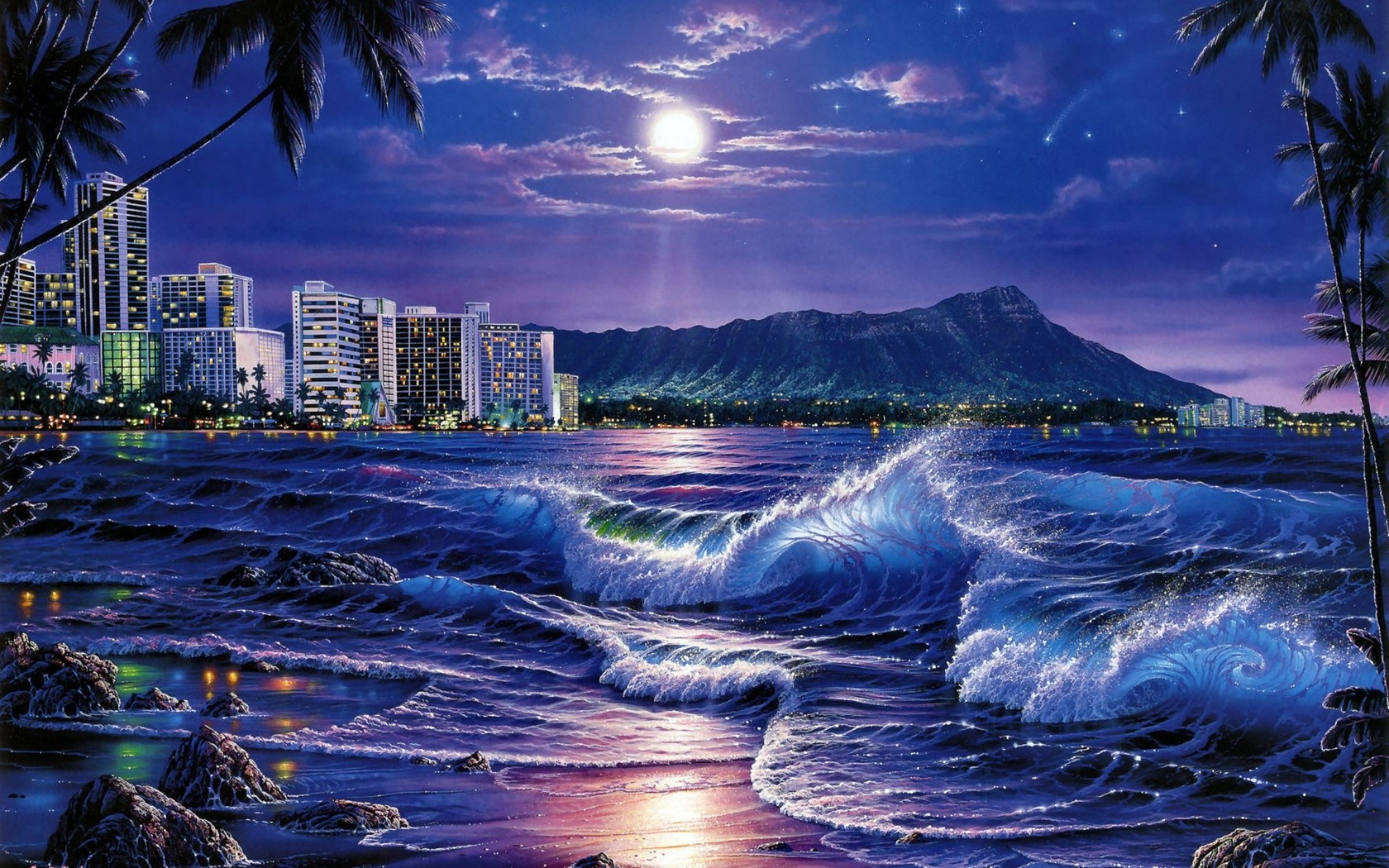 креатив, искусство, картина, природа, пейзаж, ночь, ночной, тропики, тропический, пальма, пальмы, море, морской, океан, океанский, прибой, волна, волны, луна, планета, лунный, берег, побережье, гора, горы, город, курорт