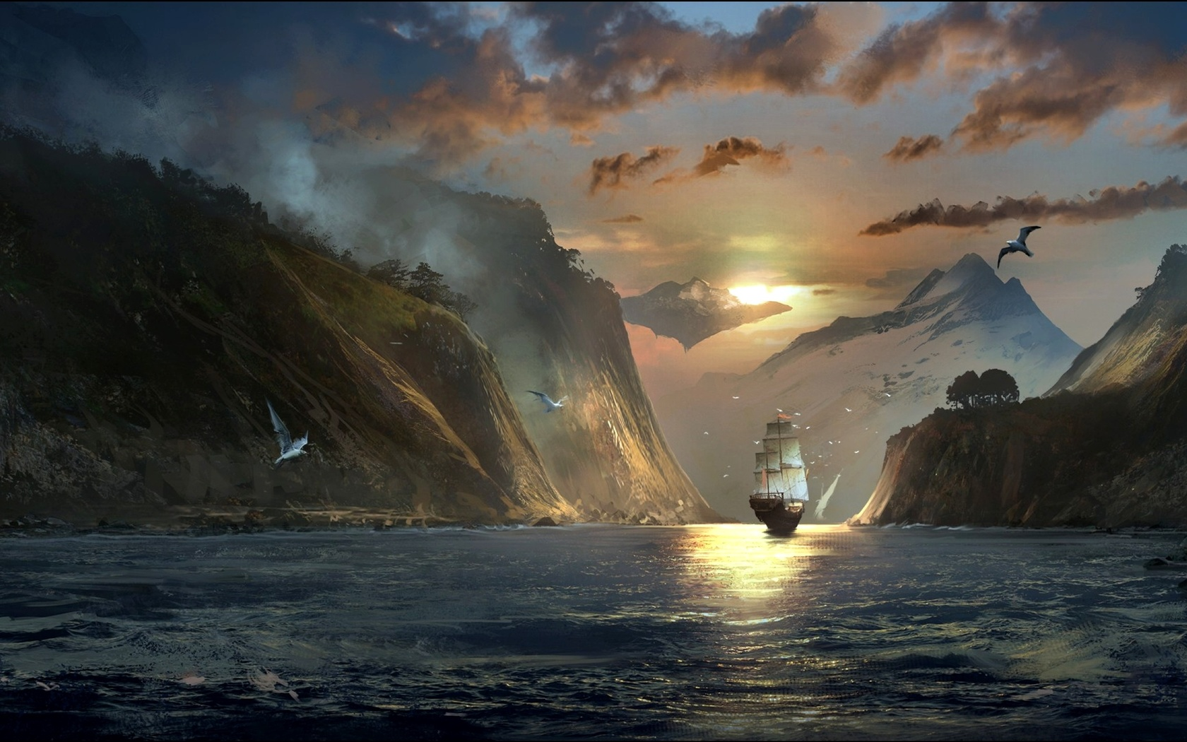 пейзаж, картина, горы, парусник, птицы