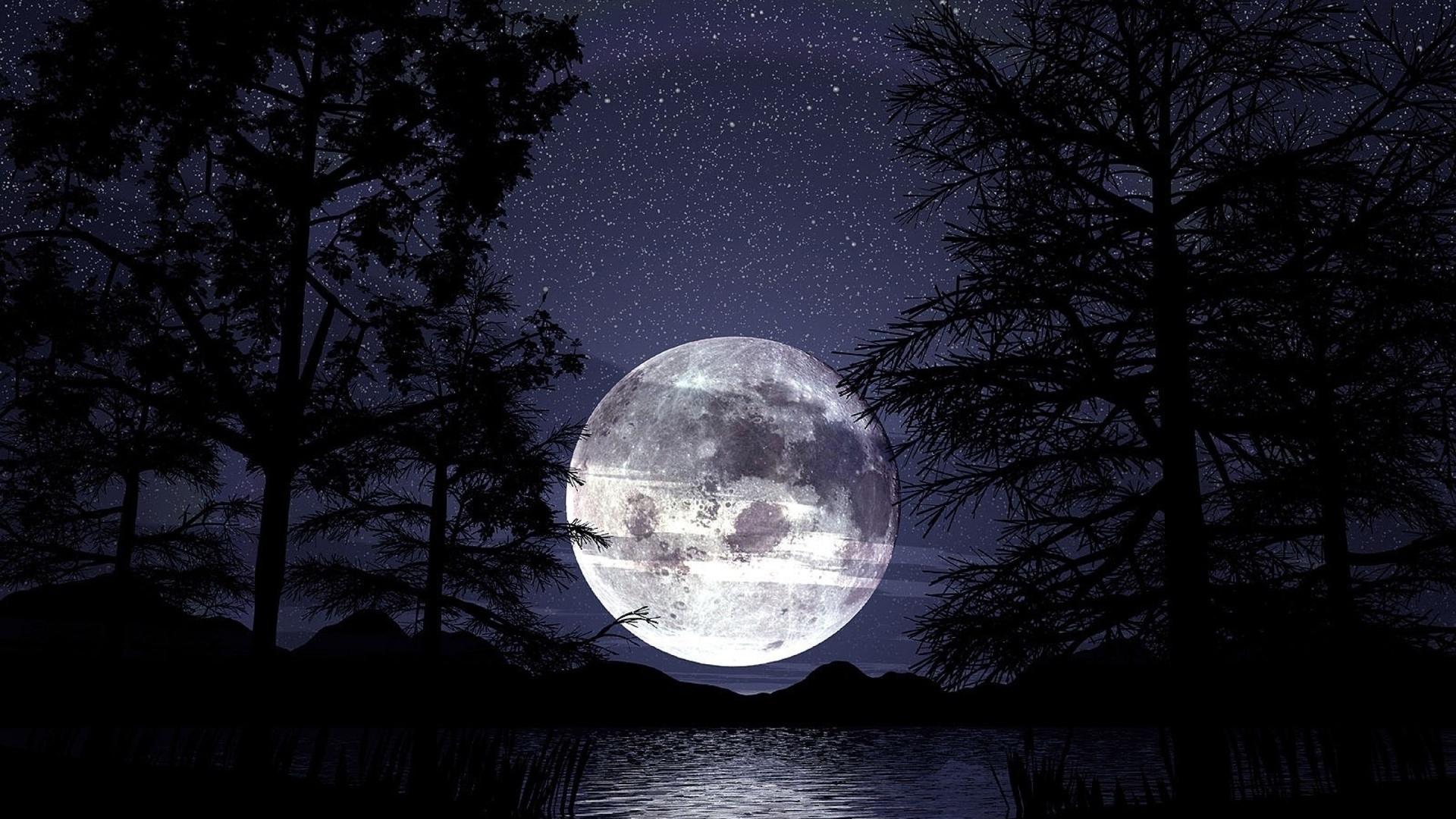 природа, пейзаж, красивый, красота, ночь, ночной, небо, луна, лунный, звезда, звёзды, звёздный, свет, темнота, мрак, лес, лесной, озеро, вода, горы, гора, холмы, холм