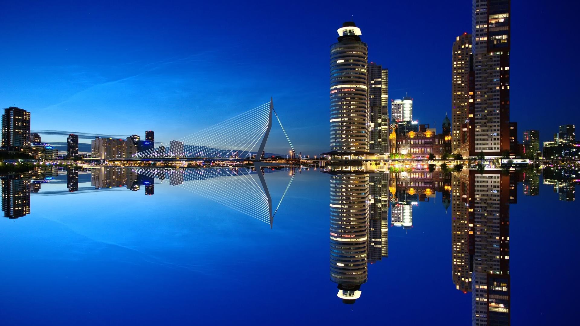 небо, голландия, ночь, роттердам, вода, город, небоскребы, архитектура, порт, нидерланды, the sky, holland, night, rotterdam, water, the city, skyscrapers, architecture, port, netherlands