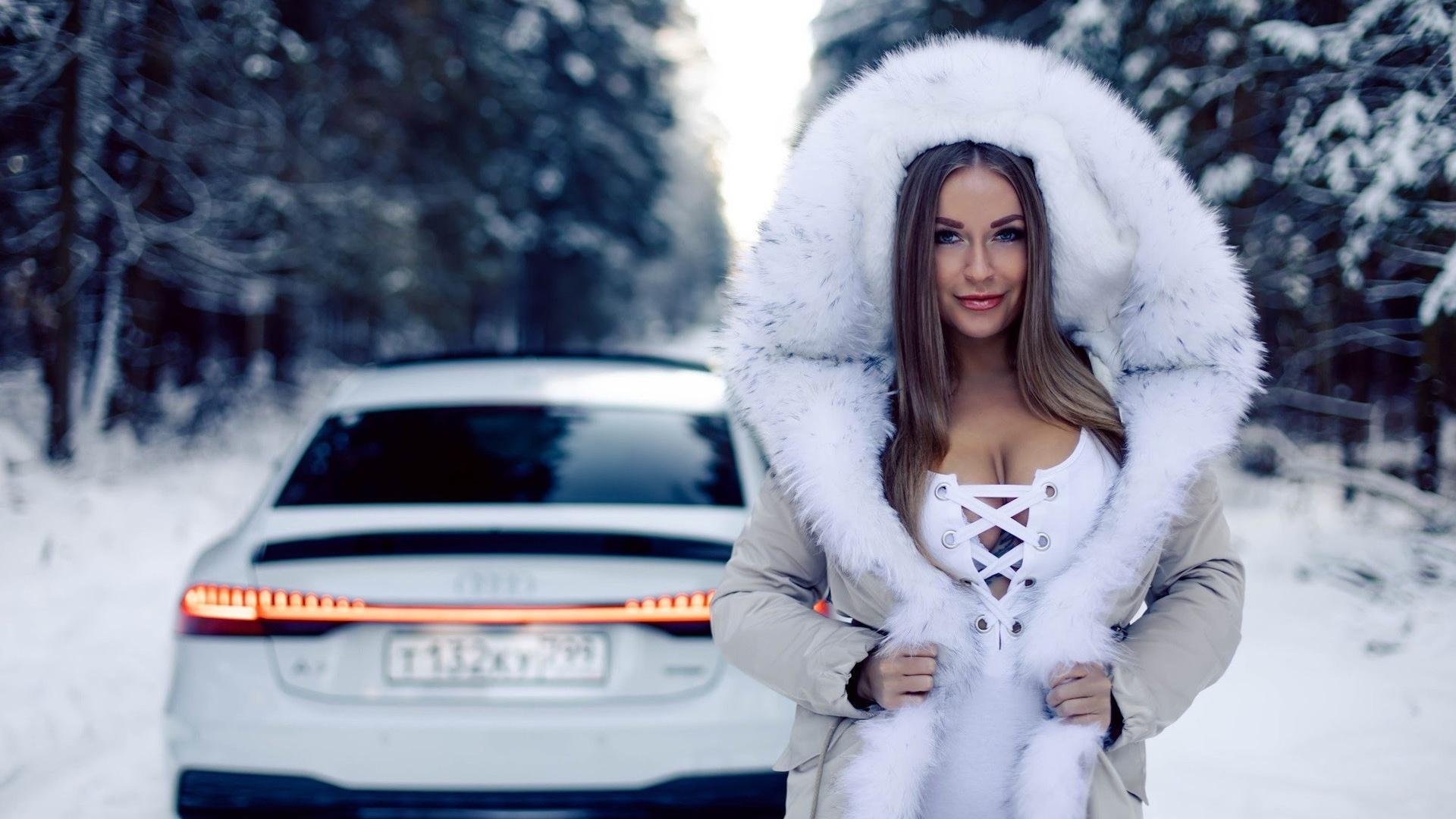 девушка, зима