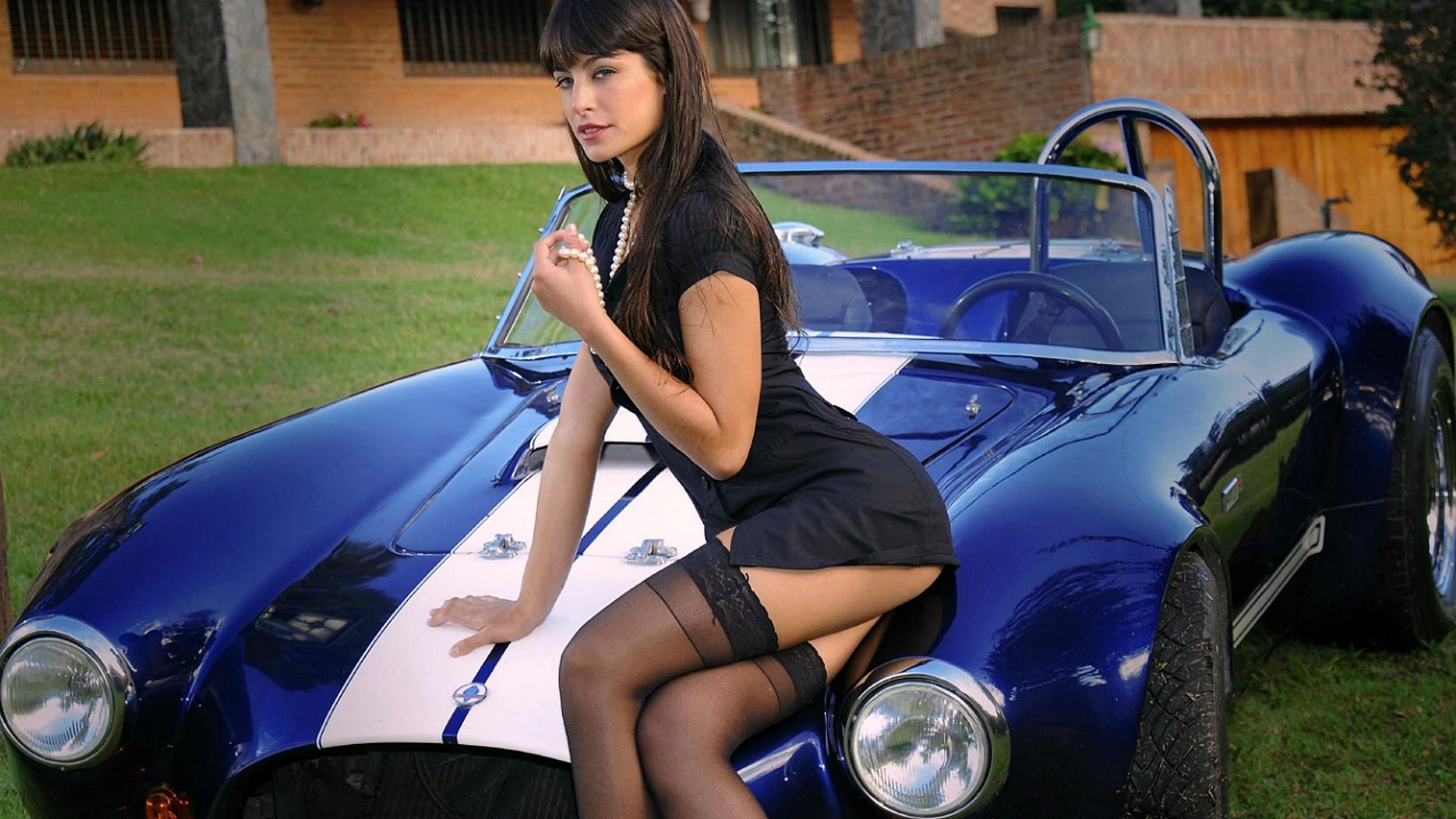 car, road, dress, girl, brunette, sexy