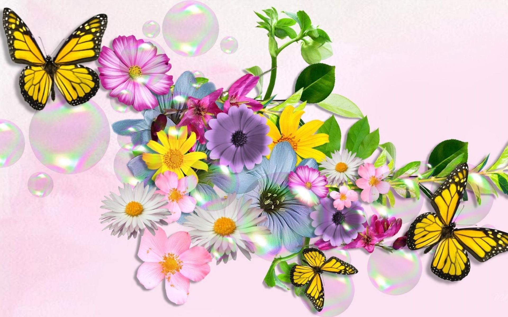 Днем, цветы и бабочки открытки