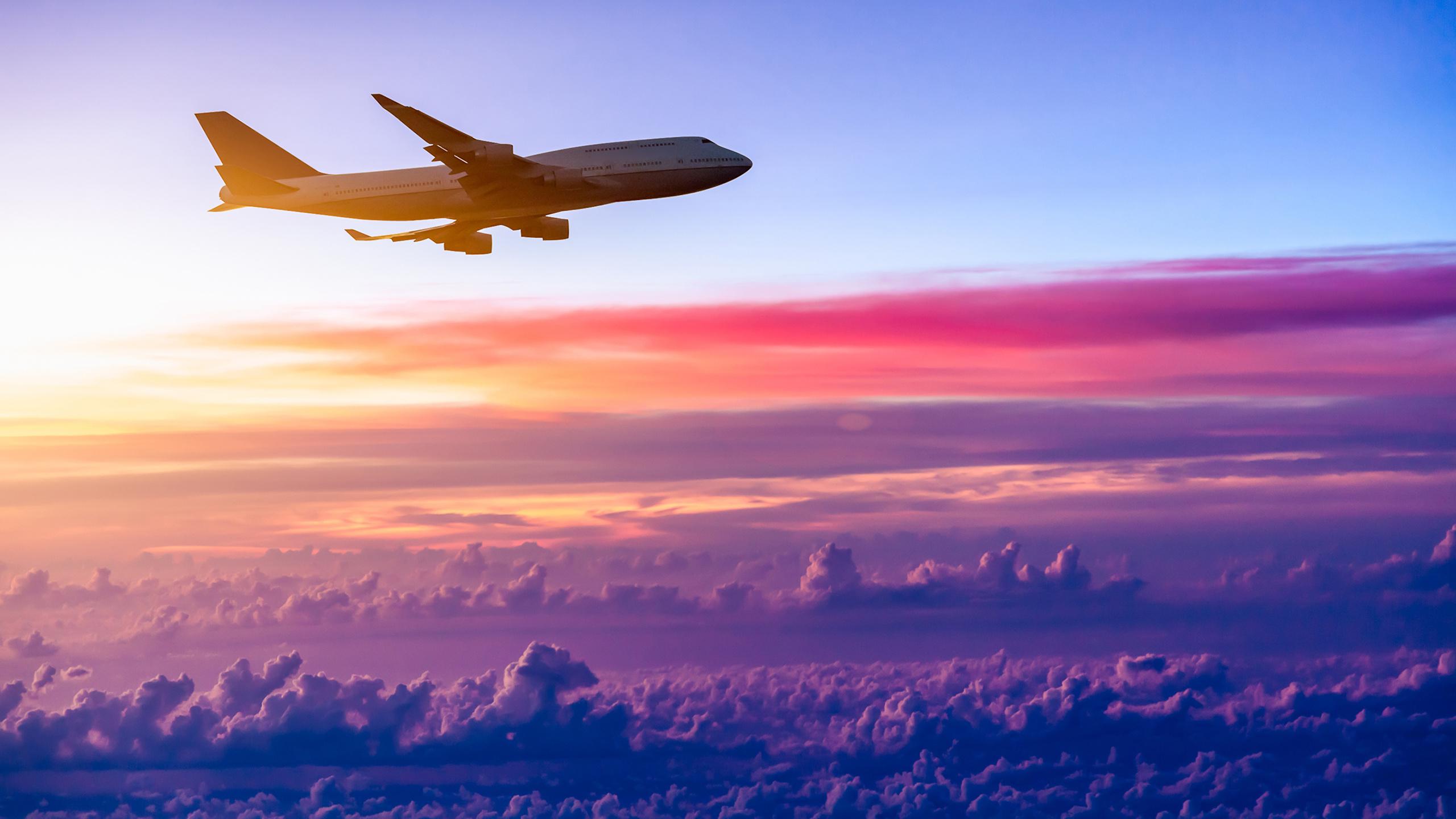 небо, облака, самолет, авиация