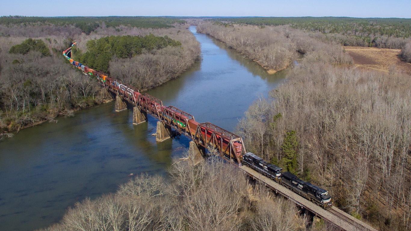поезд, состав, мост, река, лес