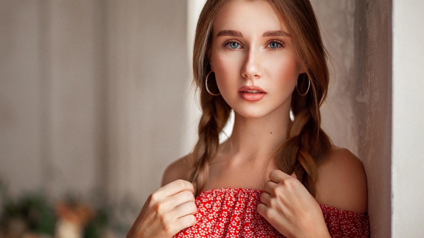 взгляд, девушка, украшения, портрет, серьги, плечи, косы, русая, алексей юрьев