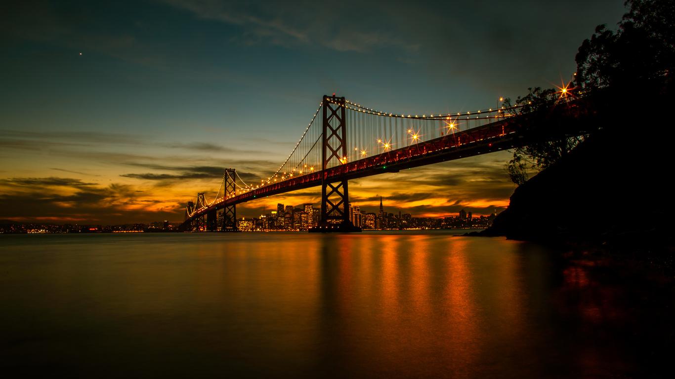 san francisco, мост, ночь, город