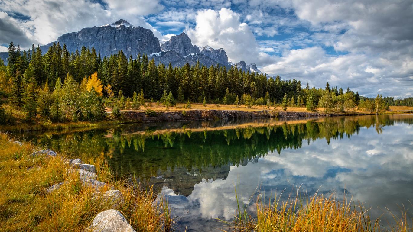 осень, канада, perry hoag, лес, горы, озеро, отражение