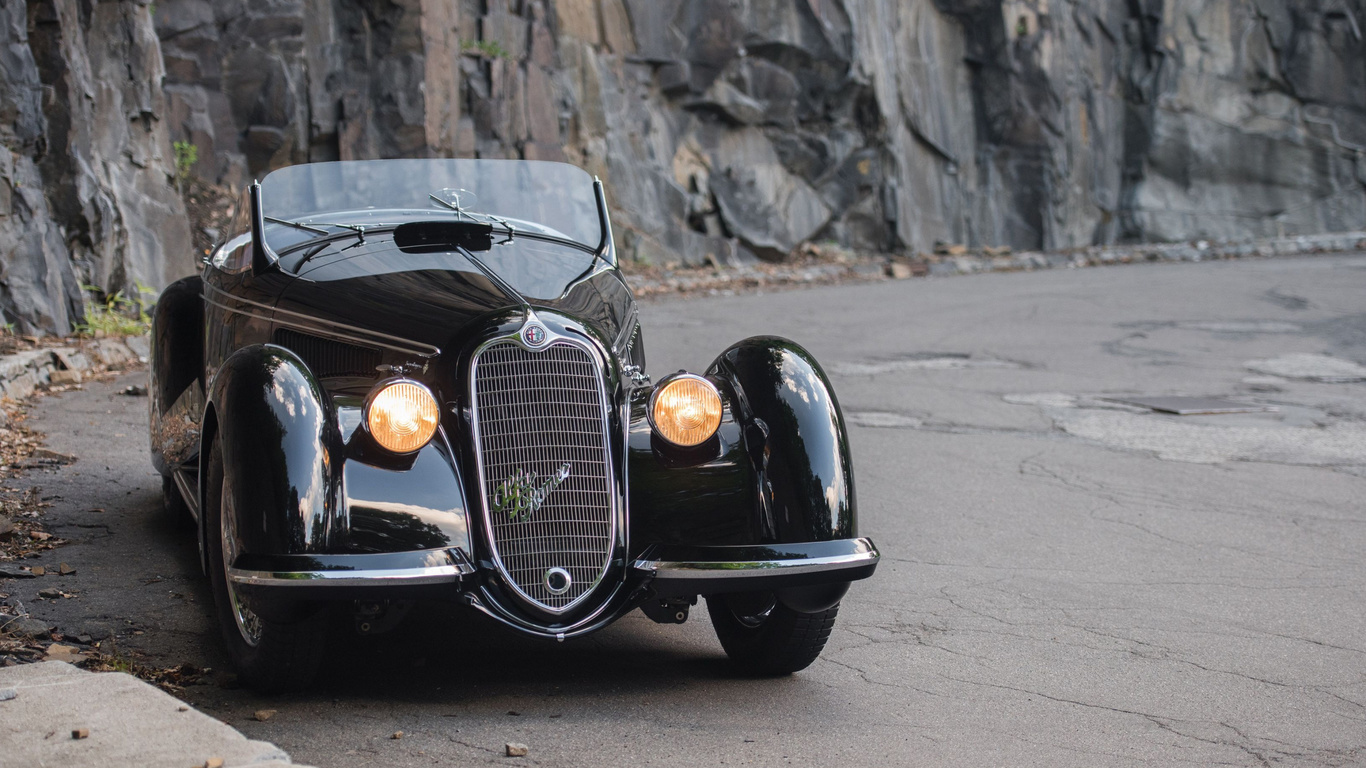 alfa romeo, 8c, 1937, black, convertible, retro