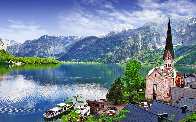 горы, озеро, церковь, причал, речные суда, австрия, халльштатт hallstatt lake, salzkammergut region, город
